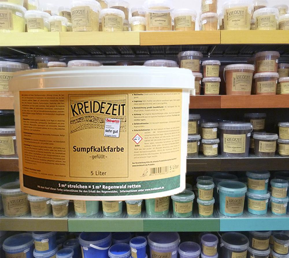 imagen producto: Pintura de Cal + Pigmento - Amarillo Espinela Tono B - KREIDEZEIT - 5 litros pintura de cal + 175 gramos pigmento